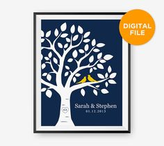 SALE Printable Personalized Wedding Tree Print by loopzart on Etsy