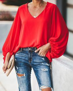 plus size blouse women puff sleeve solid color womens tops and blouses Summer v neck casual loose top blusas mujer Moda Instagram, Red Blouses, Blouses For Women, Ropa Upcycling, Moda Xl, Stylish Shirts, Basic Tops, Loose Tops, Plus Size Blouses
