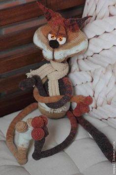Cat LittleOwlsHut Finished toy for sale Made using Crochet Pattern of Svetlana Pertseva From www.LittleOwlsHut.com Handmade.