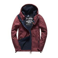 Superdry Hooded Windtrekker (14145 RSD) ❤ liked on Polyvore featuring men's fashion, men's clothing and red
