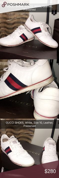 GUCCI Sneakers, White, size 10, Leather, Preowned GUCCI Sneakers, White, size 10, Leather, Used-Normal Wear, No Box Available!! Gucci Shoes Sneakers