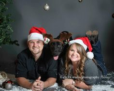 "Courtney Lee Photography! What a great first ""Mr. & Mrs."" Christmas picture. Including a pet really adds character to a picture."