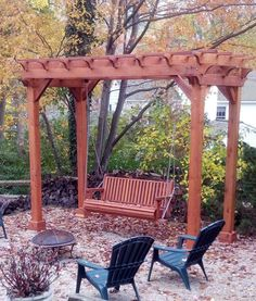 Redwood Pergola and Swing Combo (Options: 6' x 12', Standard Size, Mature Redwood, Classic Bench Swing, No Engraving, Open Roof with Slats at 18