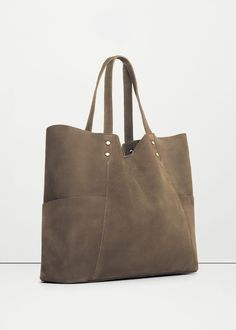 Leather shopper bag - Bags for Woman | MANGO Lithuania