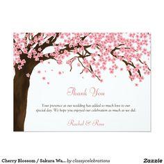 Cherry Blossom / Sakura Watercolor Thank You 4.5x6.25 Paper Invitation Card