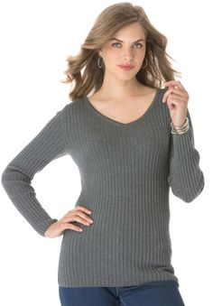 Plus Size Jessica London® V-Neck Sweater in Ribbed Cotton