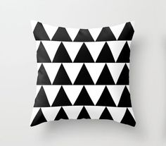 Black and White Triangle Throw Pillow By Pencil Me In // Black and White Pillow on Etsy, $31.00