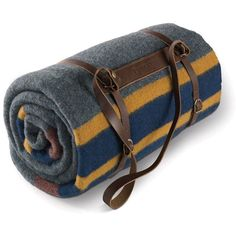 Pendleton Twin Camp Blanket with Carrier - Lake ($149) ❤ liked on Polyvore featuring home, bed & bath, bedding, blankets, camping, multi, twin bedding, lakers blanket, pendleton and striped bedding