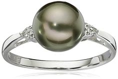 Sterling Silver with Diamond 89mm Round Black Tahitian Cultured Pearl Ring Size 7 -- You can find more details by visiting the image link.