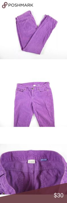 J.Crew toothpick cord pants jeans Beautiful purple J.Crew toothpick cord jeans in size 27s. Approximate measurements with pants lying flat and unstretched are waist 28 inches, inseam 29 inches. Excellent preowned condition with no flaws. ⚓️No trades or holds. I accept reasonable offers unless the item is priced at $8 or less and then the price is FIRM. I only negotiate through the offer button. I do not model. I ship within two business days of your order. I only use Posh. 🚭🐩B4 J. Crew…