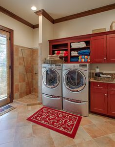 Laundry Room traditional laundry room. Love the shower to line dry. Would make it a doggie shower!