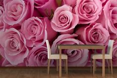 Pink Rose Bouquet Wall Mural