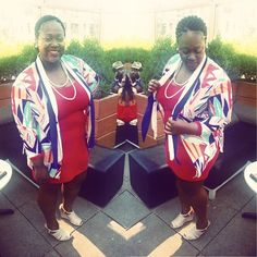 quayla_venezuela's photo on Instagram. Thrifted kimono. 4th for July. Red white and blu. Braids.  Corn rows. Forever 21 wedges.