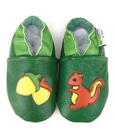 Love this Green & Yellow Squirrel Leather Booties by Augusta Baby on #zulily! #zulilyfinds