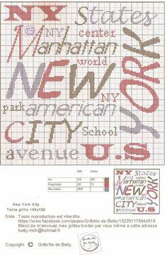 New York city Cross Stitch Patterns, Crochet Patterns, School Notes, Bullet Journal, New York, Skyline, Crafts, Travel, Cross Stitch