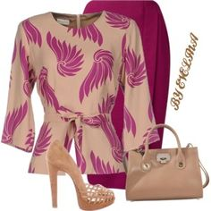 A fashion look from February 2017 featuring pink blouse, pencil skirts and christian louboutin shoes. Browse and shop related looks. Church Fashion, Work Fashion, Modest Fashion, Fashion Outfits, Womens Fashion, Fashion Beauty, Classy Outfits, Stylish Outfits, Beautiful Outfits