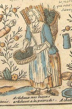Artichoce seller, Paris 1775. Cited in HÄNDLERUFE aus Europӓischen Stӓdten: Übersetzung aus dem Französischen Ulrike Bergweiler by Massin, 1978 see page 86-87.