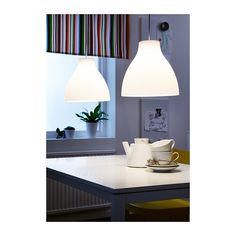 """$20 Spray paint accent color: 15"""" MELODI Pendant lamp IKEA Gives a directed light. Good for lighting dining tables or a bar area."""