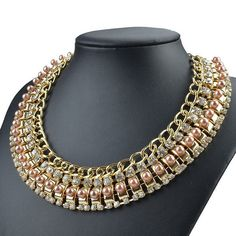 Tempting Pearl Filigree Choker 9K Gold Crystal AU Bib Statement Necklaces GC688K #NoBand #Bib