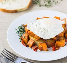 Sweet Potato Hash with Bacon and Red Peppers FMD USE TURKEY BACON AND BEWARE OF OIL PHASE 3 or Phase 1 omit oil.