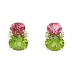 Pink Tourmaline and Peridot Twin Stone Earrings Stone Earrings, Stone Jewelry, Clip On Earrings, Tourmaline Earrings, Pink Tourmaline, Pink Stone, Green Stone, Peridot Stone, Pandora Jewelry