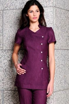 LILI TUNIC - Mandarin style purple linen beauty tunic buttoned to the side with diamante buttons, this beauty tunic is comfortable with a clean professional cut. Salon Uniform, Spa Uniform, Scrubs Uniform, Tunic Designs, Dress Neck Designs, Kurti Neck Designs, Plus Size Maxi Dresses, Short Sleeve Dresses, Gowns