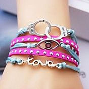 Leather Bracelet Multilayer Alloy Eye and Lov... – USD $ 3.99