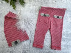 Newborn Photo Outfit - Winter Red Gray Striped Pants and Faux Fur Pom Hat Set - Photo Prop - READY TO SHIP by wrenandwillowdesigns on Etsy