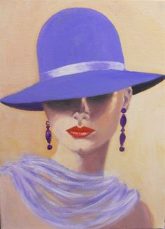 Lady in a blue hat by dian bernardo