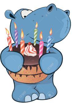 Little Hippopotamus. Cartoon Stock Vector - Illustration of graphic, tropical: 49837445 Happy Birthday Animals, Happy Birthday Wishes Quotes, Birthday Greetings, Cute Hippo, Baby Hippo, Cute Baby Animals, Birthday Cartoon, Birthday Clipart, Cartoon Drawings