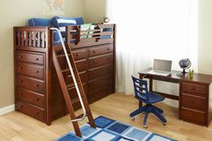 Dreams - and space-saving room storage - reach new heights in the Emperor Storage Loft . Crafted with durable solid birch in a deep chestnut brown,. Kids Beds With Storage, Cool Beds For Kids, Kids Storage, Loft Storage, Built In Storage, Storage Beds, 4 Shelf Bookcase, Bunk Bed With Desk, Diy Bed