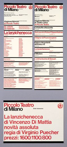 Piccolo Teatro, Vignelli Associates, New York, 1964 Page Design, Book Design, Web Design, Editorial Layout, Editorial Design, Massimo Vignelli, International Typographic Style, Typography Poster Design, Swiss Design