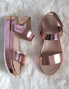 Rose gold goodness. Flatforms are the shoe to own this Spring.