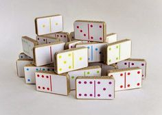 Multi-coloured cardboard domino set by Unlimited Design