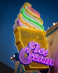 Retro Neon Ice Cream Cone Sign  READY TO by RetroRoadsidePhoto, $30.00