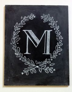 Vintage-Style Custom Hand Painted Monogram- Chalkboard Art Sign- Unframed 8 x 10 - Chalkboard Wall Art- Monogram Wedding Gift Chalkboard Designs, Chalkboard Art, Chalk It Up, Chalk Art, Monogram Painting, Painted Monogram, M Monogram, Lily And Val, Art Projects