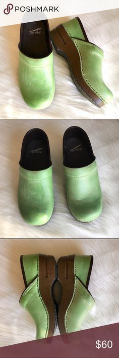 """Dansko Green Clogs - Sz 37 Light green clogs from Dansko in GUC! Please see pictures for close-ups of some slightly worn/ dirty spots (they can likely be cleaned but I didn't want to risk messing up the leather). Leather upper, manmade balance. .5"""" platform, 1.75"""" heel. Overall great shape and tons of life left- perfect for anyone who spends lots of time on their feet and needs a comfy, supportive shoe! Questions welcome! Dansko Shoes"""