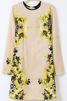 Yellow Long Sleeve Vintage Floral Print Dress