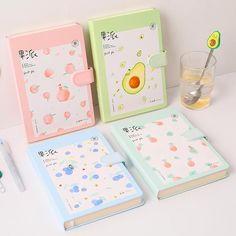 Cute Fruits Notebook cm ●Material:pu and paper pics included ●About Shipping: time: business days. Stationary School, Cute Stationary, School Stationery, Kawaii Stationery, Stationery Paper, Cool School Supplies, Japanese School Supplies, Office Supplies, Kawaii Fruit