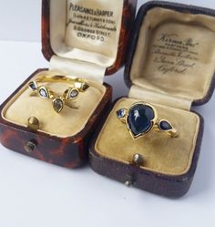 Sapphire & Diamond two piece ring set by Fran Barker Design.