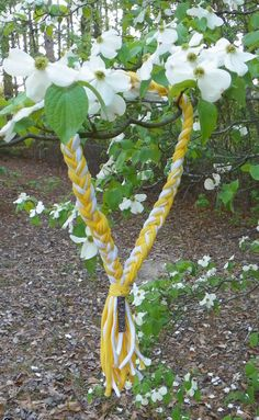 Braided Scarf Necklace in Yellow and White by AbsolutelyFetching
