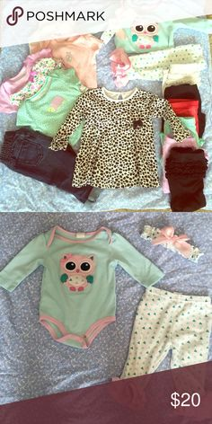 Bundle of baby clothes Bundle includes 6 leggings, skinny jeans, 3 onesies, 1 full 9 month outfit including headband as shown, 1 long sleeve. 2 of the onesies are gently worn, everything else is either like new or never worn. 9-12 months Other