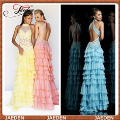 HE137 High Neck Backless Sheer Lace Bodice Tiered Chiffon Sexy Long Prom Gown Pink  Yellow Blue Dresses $129.99