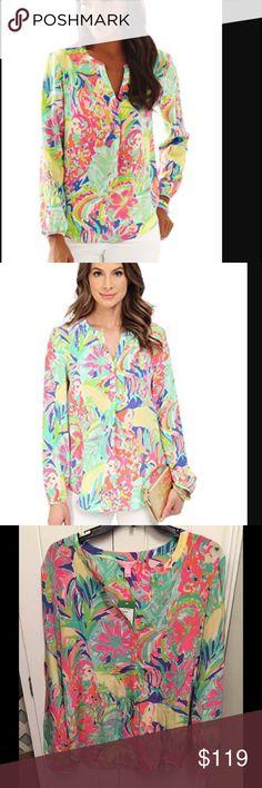 14cc251a21405 LILLY PULITZER Stacey casa banana silk blouse top Lilly Pulitzer Stacey Silk  Top Blouse Prepare