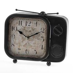 Amazing brown metal TV table clock, one of the best decorative clocks around!  www.inart.com