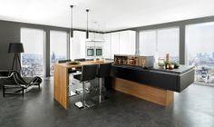 #SchmidtBarnet #London #Wood #modern #Kitchen #design with #island #handles #black #central #room