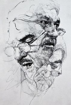 Chenar Othman, pen and ink {contemporary figurative art male head eyeglasses man face portrait drawing #loveart #2good2btrue} www.facebook.com/chnaaa1
