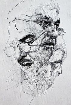 Chenar Othman, pen and ink {contemporary figurative art male head eyeglasses man face portrait drawing} www.facebook.com/chnaaa1
