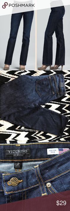 "Vizcaino Bootcut Jeans from Neiman Marcus Dark wash jean. About a 30.5"" inseam. Vizcaino Jeans Boot Cut"