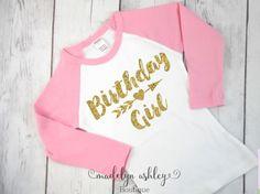 Girls Birthday Shirt-Birthday Girl Shirt-Girls by MadelynAshleyBtq Birthday Tags, 12th Birthday, Birthday Shirts, Birthday Celebration, Girl Birthday Shirt, Birthday Parties, Gold T Shirts, Vinyl Shirts, Monogram Shirts